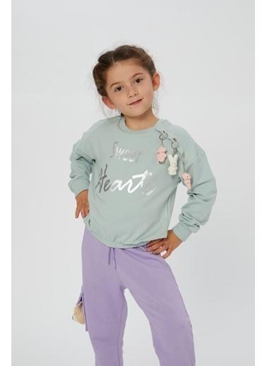Little Star Little Star Kız Çocuk Omuz Detaylı Sweatshirt Yeşil